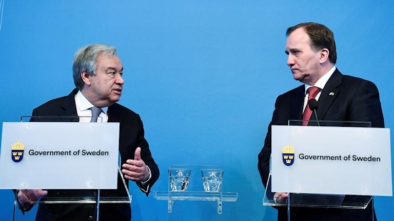 FN:s generalsekreterare António Guterres under en presskonferens tillsammans med statsminister Stefan Löfven (S) i Rosenbad.