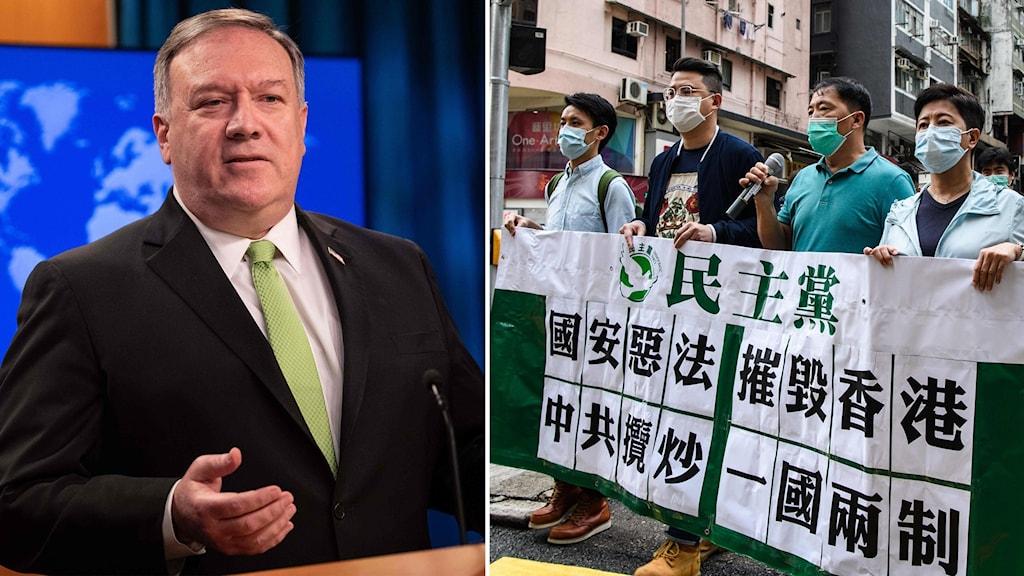 Montage på USA:s utrikesminister Mike Pompeo och demonstranter i Hongkong