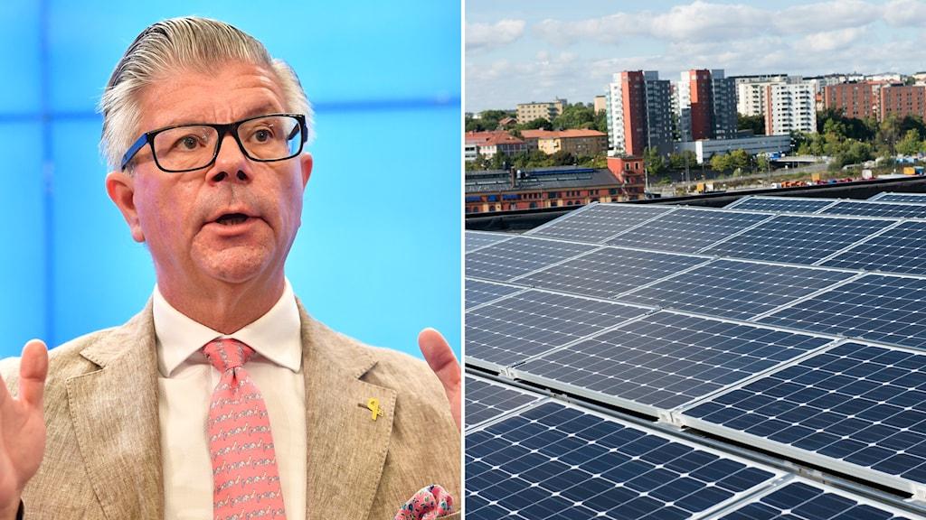 Montage med Ms utrikespolitiska talesperson Hans Wallmark och solceller på ett tak.