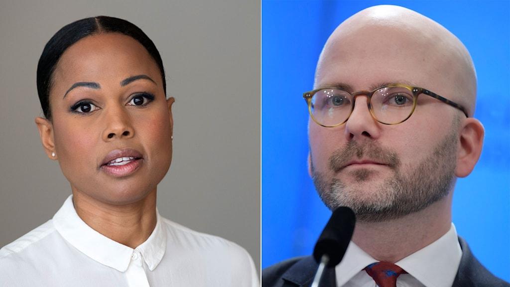 Miljöpartiets Alice Bah Kuhnke och Sverigedemokraternas Charlie Weimers