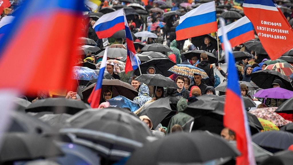 Protester i centrala Moskva 10 augusti. Foto: Yuri Kadobnov/TT.