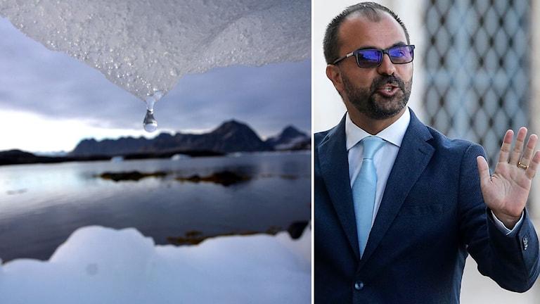 Smältande is och Italiens utbildningsminister Lorenzo Fioramonti.