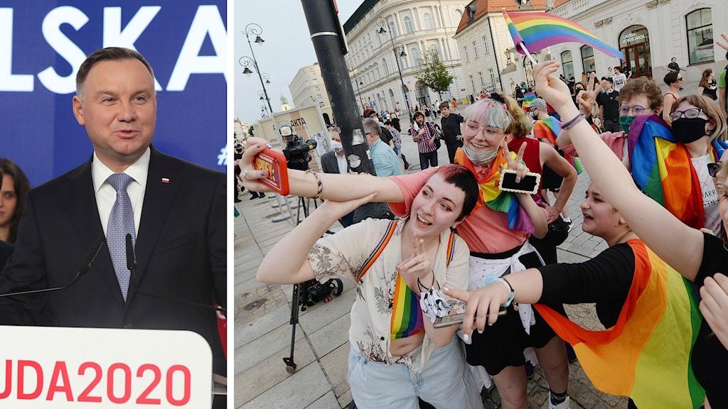 Polens president Andrzej Duda och regnbågsdemonstration utanför presidentpalatset i Warszawa.