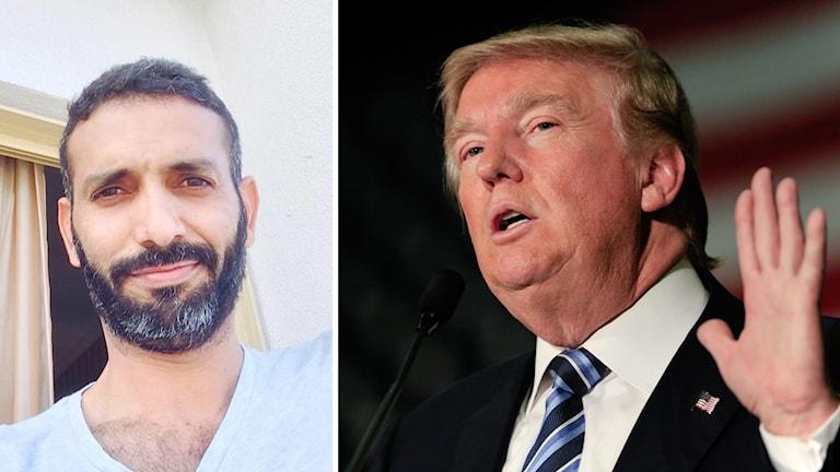 Bildmix: Irakiske journalisten Ammar Karim och bild på USA:s president Donald Trump.