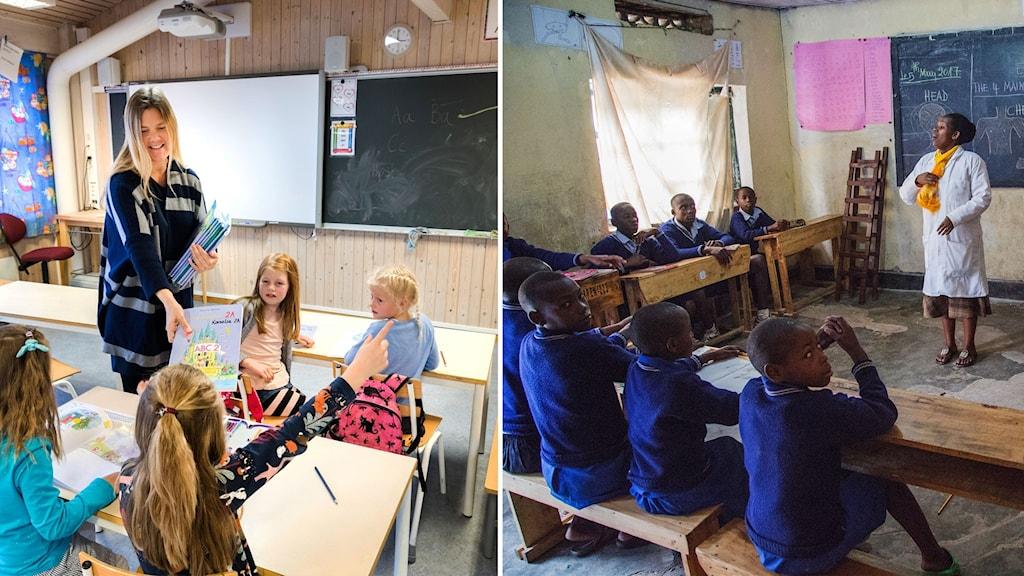 Ett montage av två klassrum i världen. Ett i Rwanda och ett i Norge.