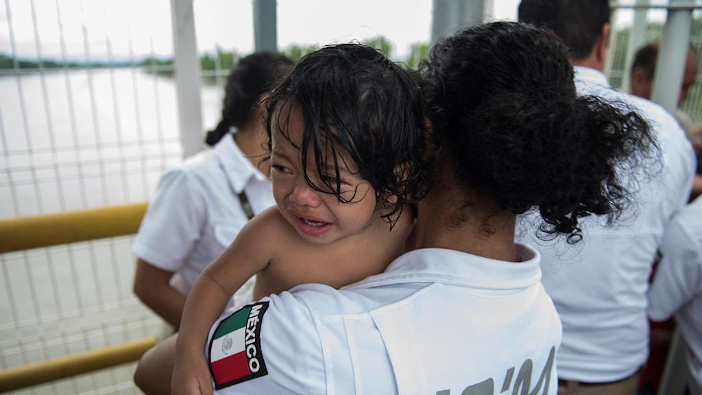 Ett barn från Honduras i famnen på en mexikansk migrationstjänsteman.