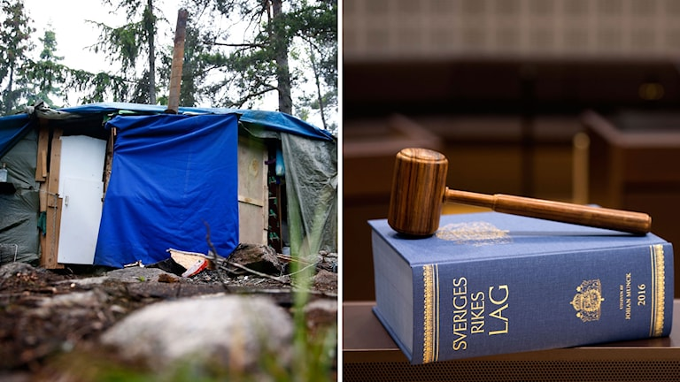 Enkel bosättning gjort av träpinnar och presseningar ute i skogen. Till höger lagbok med en domarklubban ovanpå.