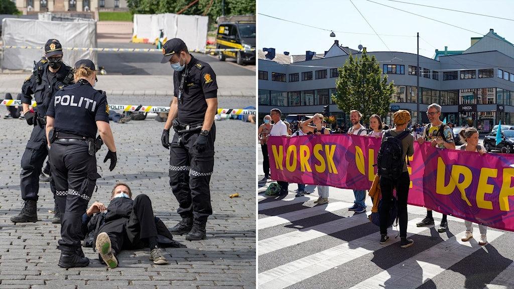 Poliser runt man som ligger på gatan och bild på människor som håller banderoll vid övergångsställe