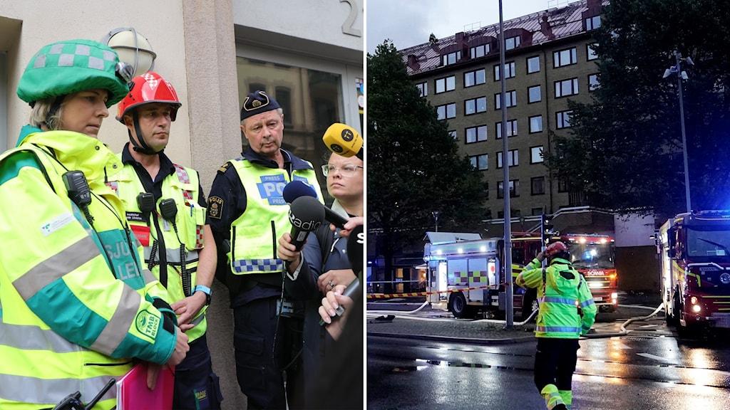 Räddningstjänst och polis på presskonferens och huset som brunnit i Göteborg.