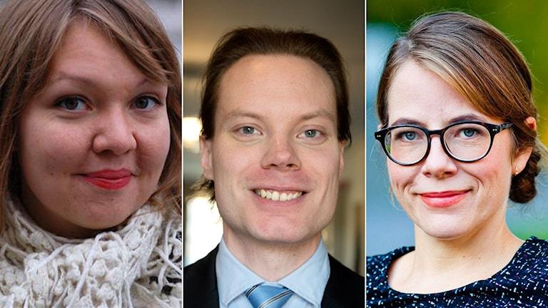 Marika Lindgren Åsbrink (LO), Martin Kinnunen (SD) och Moa Berglöf (tidigare talskrivare M)