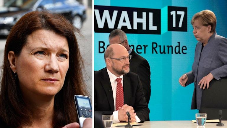 Ann Lindhe, Angela Merkel och Martin Schulz.