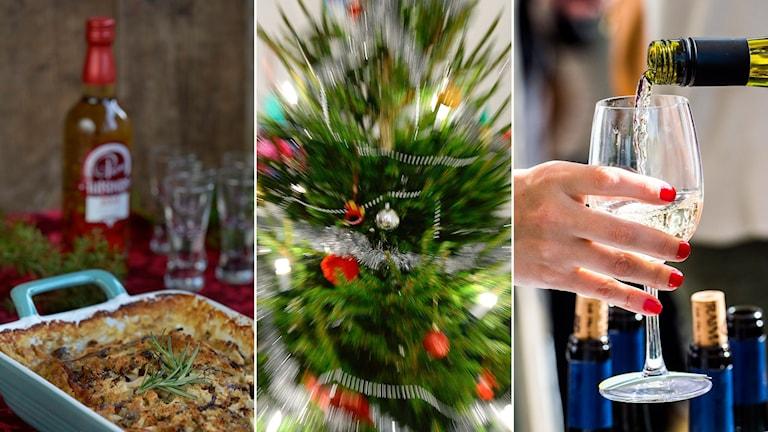 Tredelad bild: Julmat i ungsform och sprit i bakgrunden, en julgran och en kvinna håller i ett glas som någon häller vin i