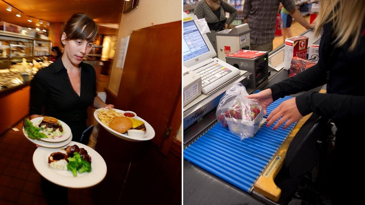 Delad bild: Kvinna bär tre tallrikar med mat, kvinna i en butikskassa