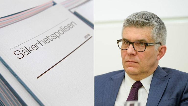 En bild på Säpos rapport och Anders Thornberg, generaldirektör och chef på Säkehetspolisen.