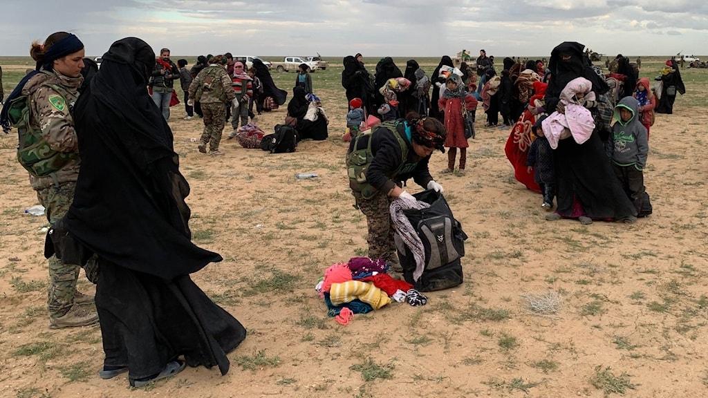 Flera familjer som lämnat IS sista fäste Baghouz