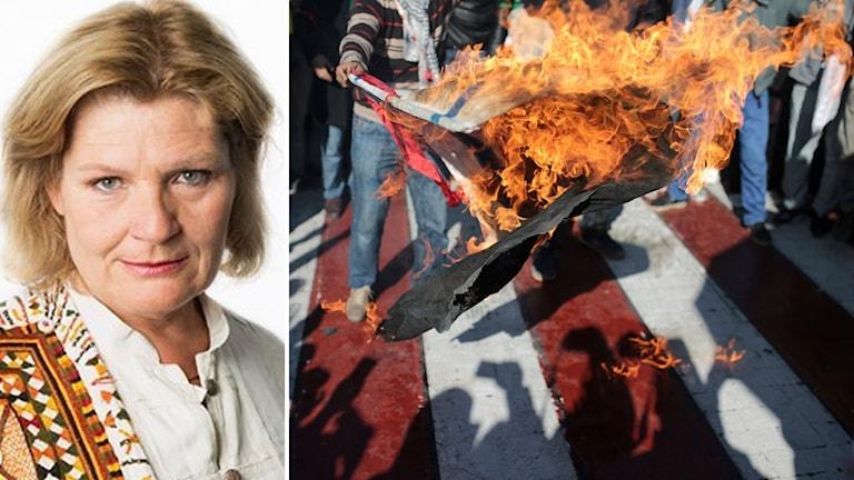 Cecilia Uddén och en flagga som brinner.