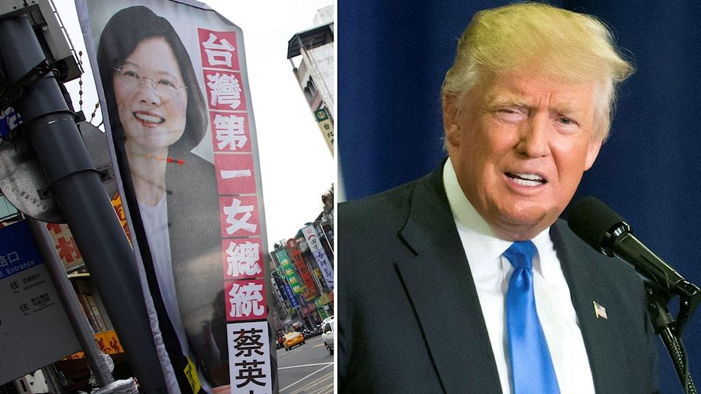 Delad bild: En valflagga föreställande Taiwans president samt Donald Trump.