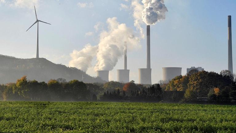 Kolkraftverk och vindkraftverk sida vid sida i Tyskland.