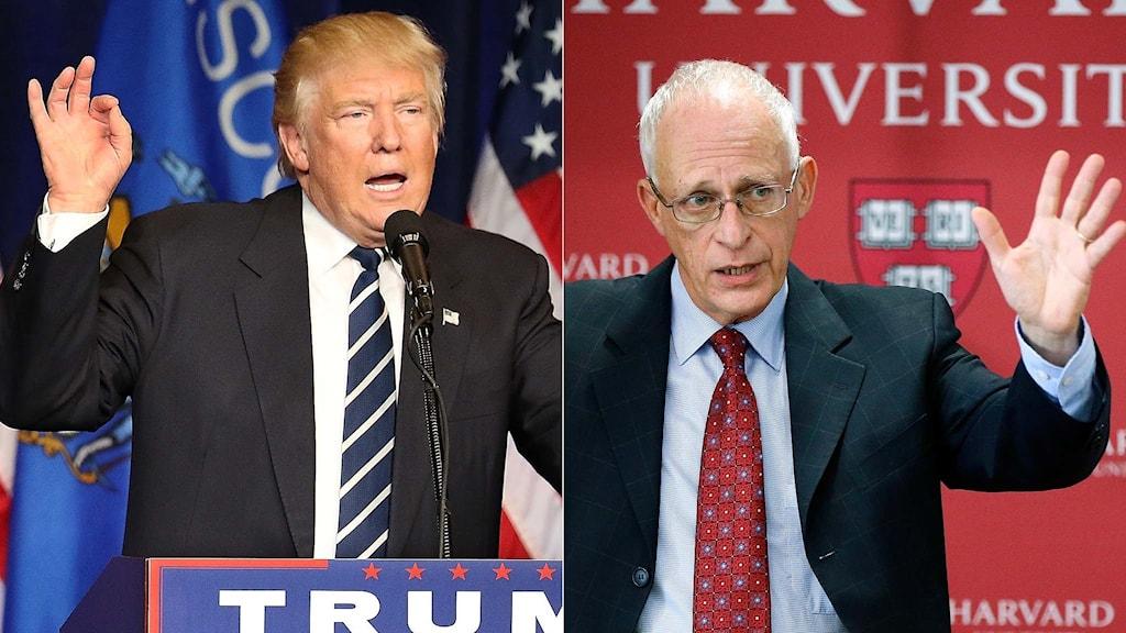Donald Trump, USA:s blivande president och Oliver Hart en av årets nobelpristagare i ekonomi.