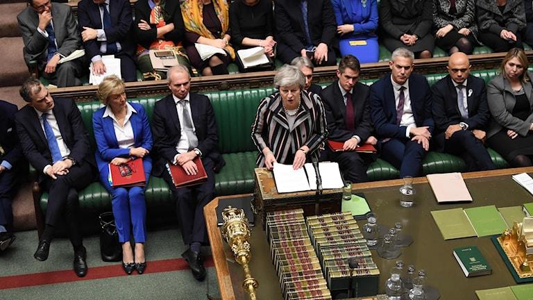 Theresa May i det brittiska parlamentet.
