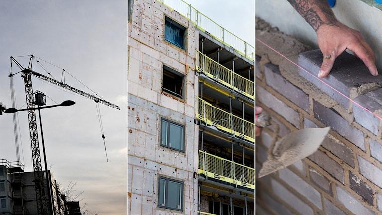 Tredelad bild: byggkran, husfasad och murare i arbete.