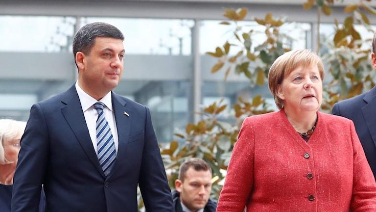 Angela Merkel och Ukrainas premiärminister Volodymyr Groysman.
