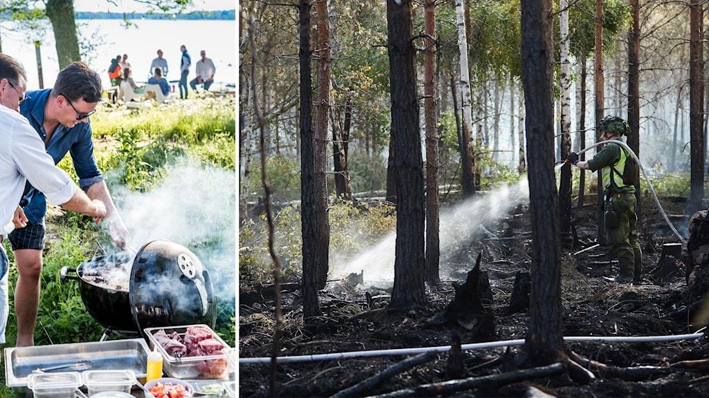 Delad bild: Män som grillar utomhus, brandman släcker en skogsbrand.