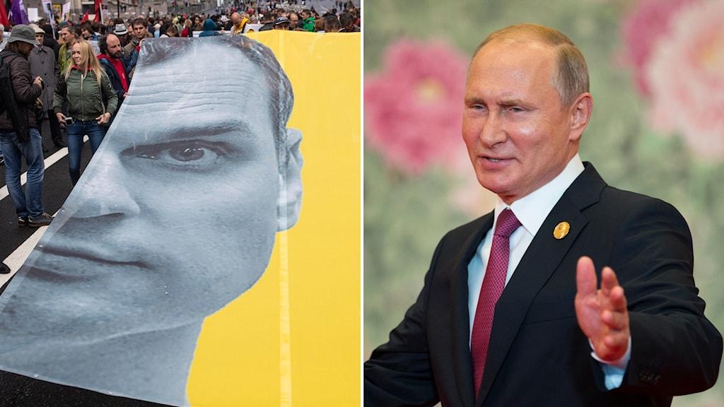 Oleg Sentsov och Vladimir Putin.