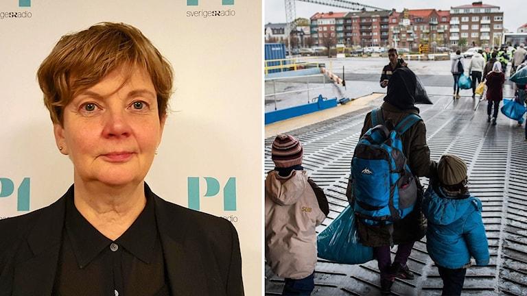 Madeleine Seidlitz på Amnesty i montage med bild på flyktingfamilj som är på väg av färja.