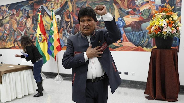 Bolivias president Evo Morales efter en presskonferens i huvudstaden La Paz.