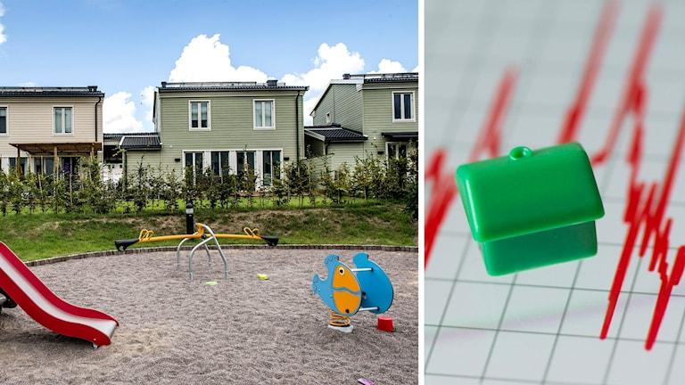 Genrebild småhus till vänster, illustration bopriser till höger.