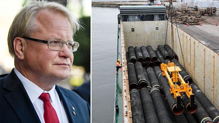 Försvarsminister Peter Hultqvist och rör till gasledningen Nord Stream 2