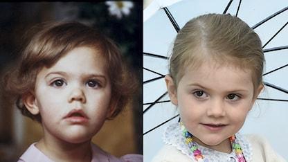 Sådan mor, sådan dotter? Victoria (vänster) och Estelle, båda vid omkring 2 års ålder.