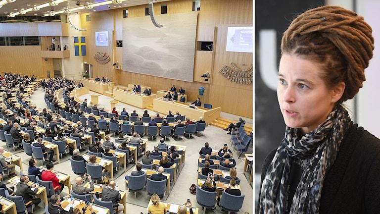 Kollage av riksdagen och demokratiminister Amanda Lind (mp).