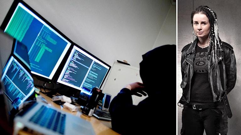 Hackare framför dator och Kvinna i svart läderjacka som står mot betonggrå bakgrund, händerna bakom ryggen och tittar in i kameran
