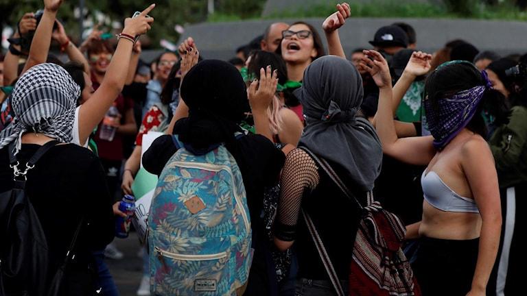 Kvinnor demonstrerade i Mexiko City. Foto: Marco Ugarte/TT.