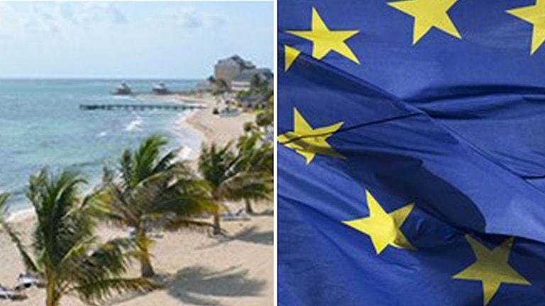Skatteparadis och EU-flagga.  Foto: Pontus Lindahl/Magnus Schreiber/ TT. Montage: Sveriges Radio.