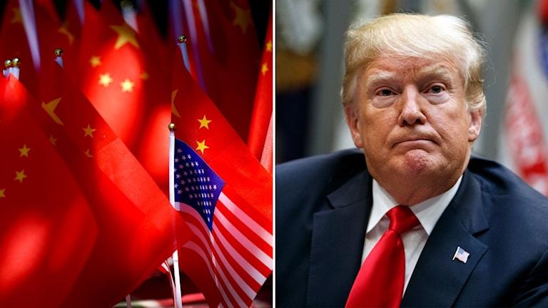 kinesiska och amerikanska flaggor och bild på president Trump.