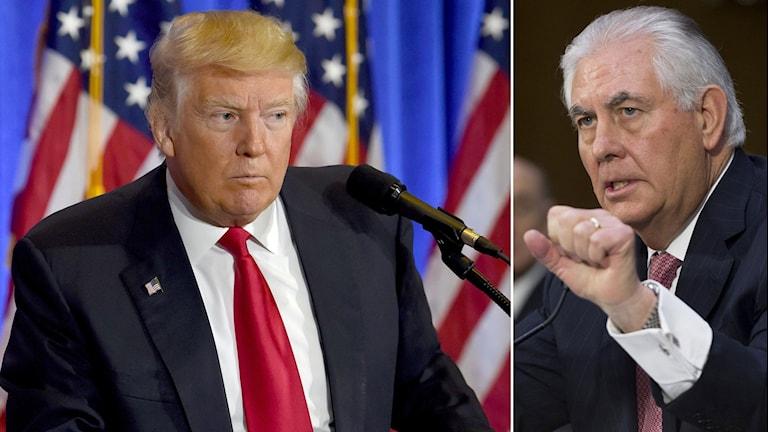 Tvådelad bild: Trump hukar och ser fundersam ut, Tillerson hytter med näven