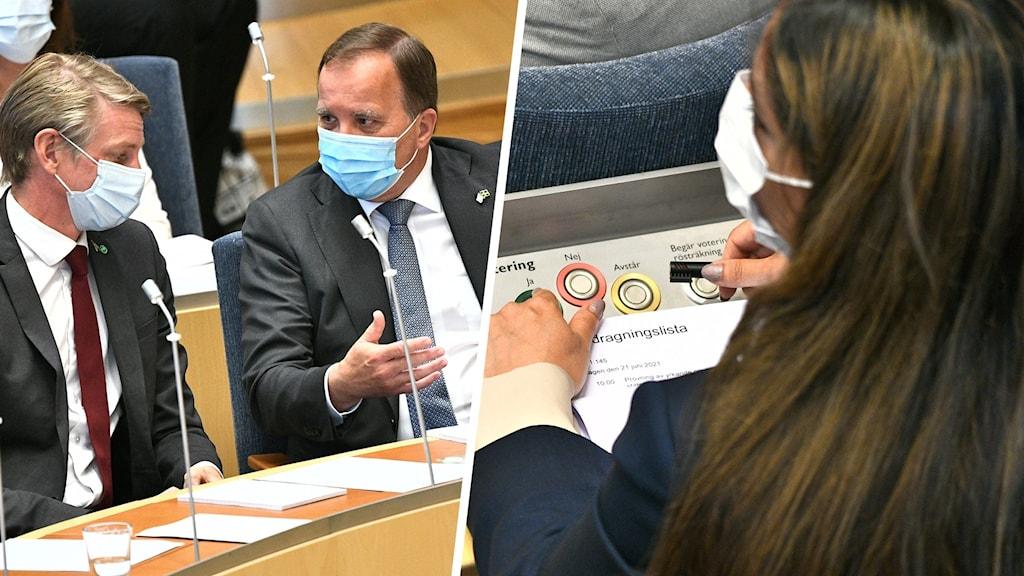 Statsminister Stefan Löfven (S), miljöminister Per Bolund (MP) och Vänsterpartiets ledare Nooshi Dadgostar.