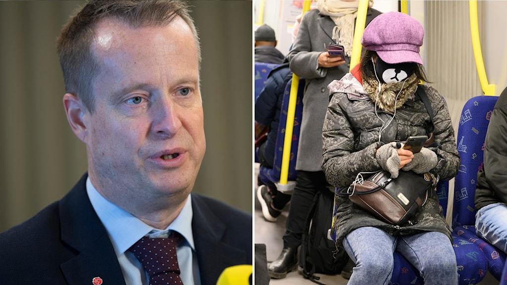Till vänster: digitaliseringsminister Anders Ygeman (S). Till höger: tunnelbaneresenär med mobiltelefon.