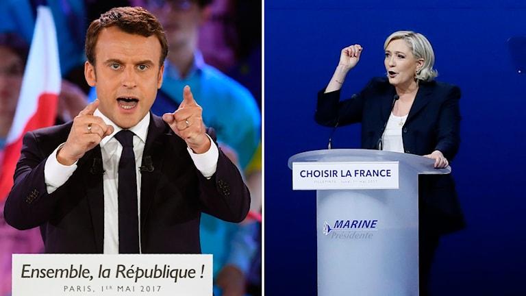 Presidentkandidat Emmanuel Macron och presidentkandidat Marine le Pen i Frankrike.