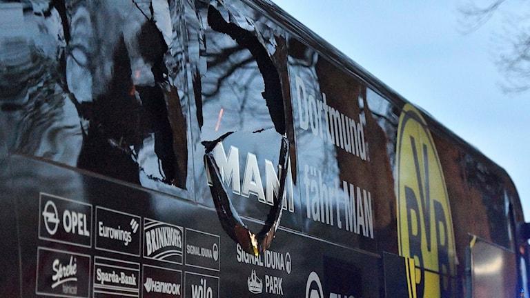 Spelarbussen skadades