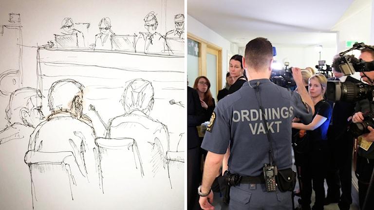 Det råder fotoförbud i rätten, här är en teckning från förhandlingen av illustratör Johan Hallnäs.