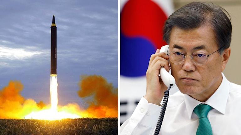 Sydkoreas president Moon Jae-in, robottest. Foto: TT, Montage: Sveriges Radio.
