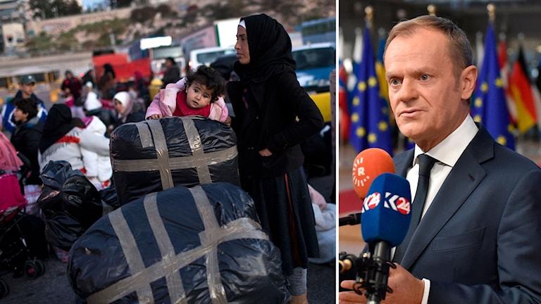 Till vänster: Flyktingar i väntan på en färja vid hamnen i den grekiska staden Pireus.  Till höger: EU:s ordförande Donald Tusk.