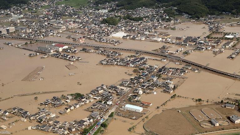 Stora översvämningar i Kurashiki i Okayamaområdet.
