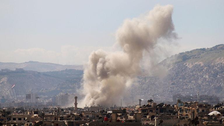 Flygattacker i Syriens huvudstad Damaskus