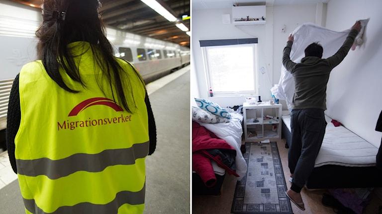 Medarbetare på Migrationsverket i reflexväst på en tågperrong och en man bäddar sin säng på ett asylboende.