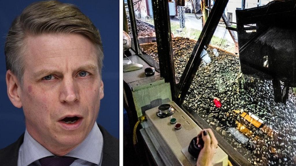 Bild på Per Bolund och en kolgruva